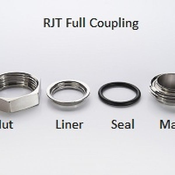 """RJT Seal to 22mm Compression Fitting Brewery Fitting 2/"""" RJT Nut /&  Liner"""